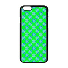 Mod Blue Circles On Bright Green Apple Iphone 6/6s Black Enamel Case by BrightVibesDesign