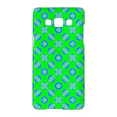 Mod Blue Circles On Bright Green Samsung Galaxy A5 Hardshell Case  by BrightVibesDesign