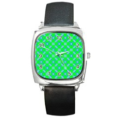 Mod Blue Circles On Bright Green Square Metal Watch by BrightVibesDesign