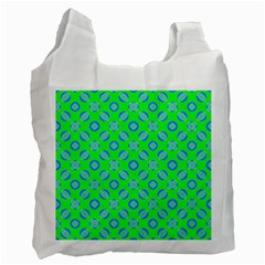 Mod Blue Circles On Bright Green Recycle Bag (one Side) by BrightVibesDesign