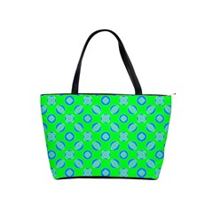 Mod Blue Circles On Bright Green Shoulder Handbags by BrightVibesDesign