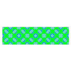 Mod Blue Circles On Bright Green Satin Scarf (oblong) by BrightVibesDesign