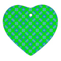 Mod Blue Circles On Bright Green Ornament (heart)  by BrightVibesDesign