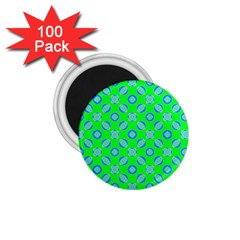 Mod Blue Circles On Bright Green 1 75  Magnets (100 Pack)  by BrightVibesDesign
