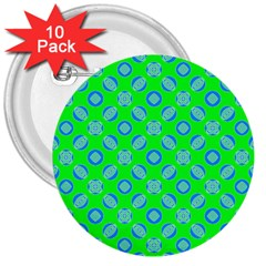 Mod Blue Circles On Bright Green 3  Buttons (10 Pack)  by BrightVibesDesign