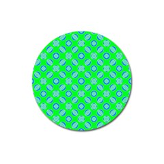 Mod Blue Circles On Bright Green Magnet 3  (round) by BrightVibesDesign