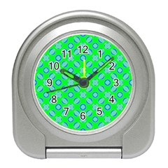 Mod Blue Circles On Bright Green Travel Alarm Clocks by BrightVibesDesign