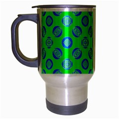 Mod Blue Circles On Bright Green Travel Mug (silver Gray)