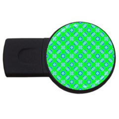 Mod Blue Circles On Bright Green Usb Flash Drive Round (4 Gb)  by BrightVibesDesign