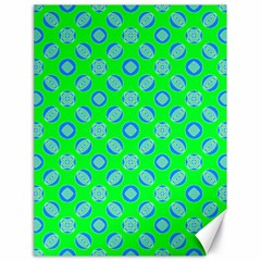 Mod Blue Circles On Bright Green Canvas 18  X 24   by BrightVibesDesign
