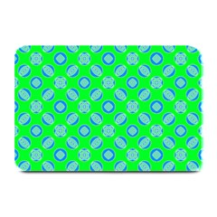Mod Blue Circles On Bright Green Plate Mats by BrightVibesDesign