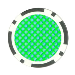 Mod Blue Circles On Bright Green Poker Chip Card Guards by BrightVibesDesign