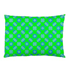 Mod Blue Circles On Bright Green Pillow Case (two Sides) by BrightVibesDesign
