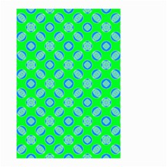 Mod Blue Circles On Bright Green Small Garden Flag (two Sides) by BrightVibesDesign