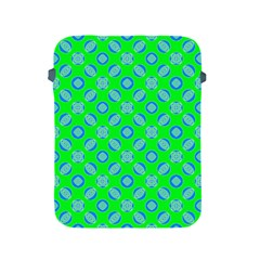 Mod Blue Circles On Bright Green Apple Ipad 2/3/4 Protective Soft Cases by BrightVibesDesign