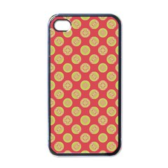 Mod Yellow Circles On Orange Apple Iphone 4 Case (black) by BrightVibesDesign
