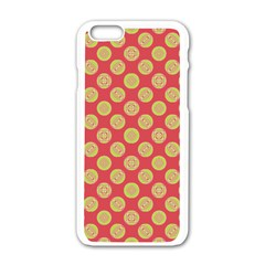 Mod Yellow Circles On Orange Apple Iphone 6/6s White Enamel Case by BrightVibesDesign