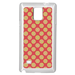 Mod Yellow Circles On Orange Samsung Galaxy Note 4 Case (white) by BrightVibesDesign
