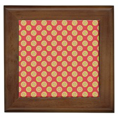 Mod Yellow Circles On Orange Framed Tiles by BrightVibesDesign