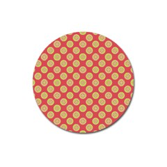 Mod Yellow Circles On Orange Magnet 3  (round) by BrightVibesDesign