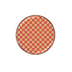 Mod Yellow Circles On Orange Hat Clip Ball Marker (4 Pack) by BrightVibesDesign