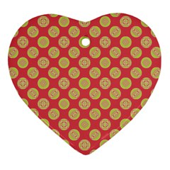 Mod Yellow Circles On Orange Heart Ornament (2 Sides) by BrightVibesDesign