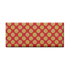 Mod Yellow Circles On Orange Hand Towel by BrightVibesDesign
