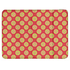 Mod Yellow Circles On Orange Samsung Galaxy Tab 7  P1000 Flip Case by BrightVibesDesign