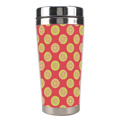 Mod Yellow Circles On Orange Stainless Steel Travel Tumblers by BrightVibesDesign