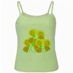 Yellow Flowers Green Spaghetti Tank by Valentinaart