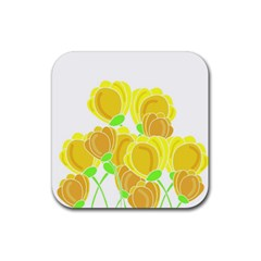 Yellow Flowers Rubber Coaster (square)  by Valentinaart
