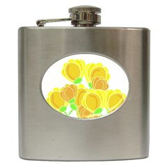 Yellow Flowers Hip Flask (6 Oz) by Valentinaart