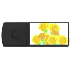 Yellow Flowers Usb Flash Drive Rectangular (4 Gb)  by Valentinaart