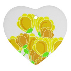 Yellow Flowers Heart Ornament (2 Sides) by Valentinaart
