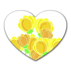 Yellow Flowers Heart Mousepads by Valentinaart