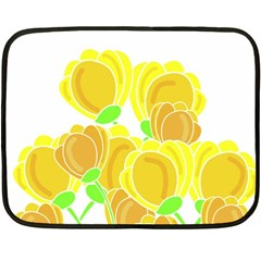 Yellow Flowers Fleece Blanket (mini) by Valentinaart