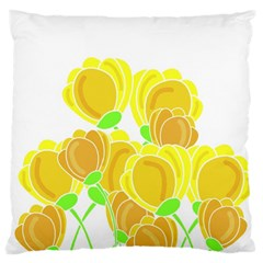 Yellow Flowers Large Flano Cushion Case (one Side) by Valentinaart