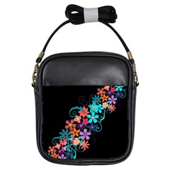 Coorful Flower Design On Black Background Girls Sling Bags by GabriellaDavid