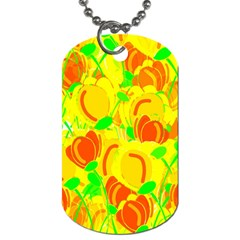Yellow Garden Dog Tag (two Sides) by Valentinaart