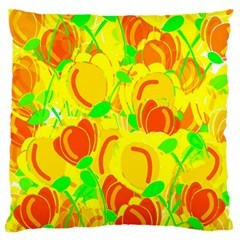 Yellow Garden Standard Flano Cushion Case (two Sides) by Valentinaart