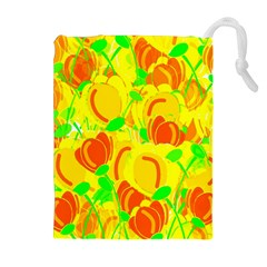 Yellow Garden Drawstring Pouches (extra Large) by Valentinaart