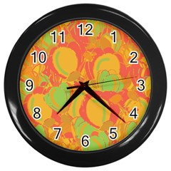 Orange Garden Wall Clocks (black) by Valentinaart