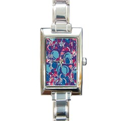 Blue Garden Rectangle Italian Charm Watch by Valentinaart