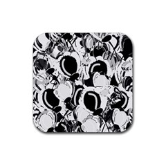 Black And White Garden Rubber Square Coaster (4 Pack)  by Valentinaart