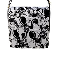 Black And White Garden Flap Messenger Bag (l)  by Valentinaart