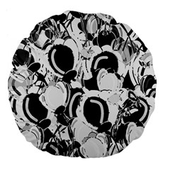 Black And White Garden Large 18  Premium Flano Round Cushions by Valentinaart