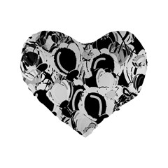 Black And White Garden Standard 16  Premium Flano Heart Shape Cushions by Valentinaart