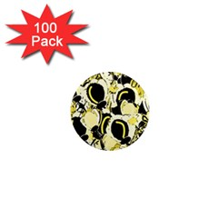 Yellow Abstract Garden 1  Mini Magnets (100 Pack)