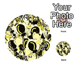 Yellow Abstract Garden Playing Cards 54 (round)  by Valentinaart