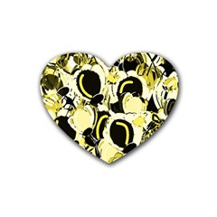 Yellow Abstract Garden Rubber Coaster (heart)  by Valentinaart
